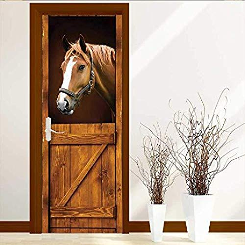 FCFLXJ3d tür aufkleber braunes pferd poster wandbild tapete stereo home hintergrund schlafzimmer tür dekoration selbstklebende pvc selbstklebende stereo er 77x200cm