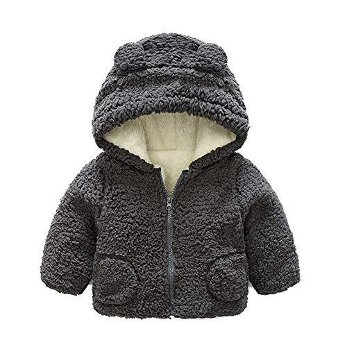 Kobay Baby Mädchen Jungen Herbst Winter Warme Kapuzenmantel Mantel Jacke Dicke Oberbekleidung(0-6M,Grau)