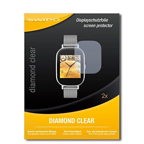 SWIDO 2 x Bildschirmschutzfolie Asus Zenwatch 2 WI502Q Schutzfolie Folie DiamondClear unsichtbar