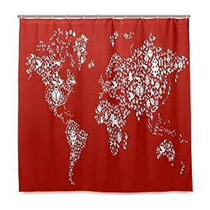 ISAOA – Cortina de ducha con diseño de mapa del mundo para baño, impresión digital, resistente al agua y al moho, color rojo, con 12 ganchos, tamaño 180 x 180 (72 x 72 pulgadas)