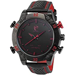 Shark Herren Armbanduhr XXL mit LED Datumanzeige SH261 Rot