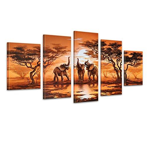 Elefantes M2 628 - 5 Imagenes, aprox.150x70, cuadros en lienzo, completamente pintado...