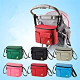3-in-1 Baby Pram Pushchair Stroller Buggy Organiser/Diaper Bag Changing Bag Mummy Nappy Bag/Insulated Warmer Bag,Universal Fit-6 Pockets
