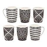 6 XXL Kaffeebecher Set Keramik 400ml in Schwarz/Weiß Design für Ihr liebstes Heißgetränk für Kaffee, Cappuccino und Latte Macchiato