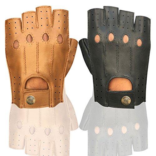 Herren Top Qualität Weiches Leder Half Finger Driving Handschuhe Motorrad Bus Driver Finger Weniger 314 314-Tan M