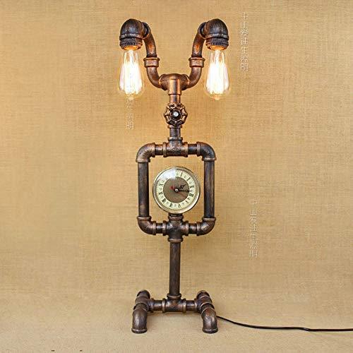 Pointhx Industrielle Schmiedeeisen Metall Schreibtischlampe Vintage 2-Licht E27 Wasserpfeife Tischlampen Nacht Rustikale Steampunk Schreibtisch Akzent Lampen - Orange-akzent-lampe