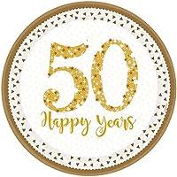 Amscan International–990221323cm brillante Golden aniversario de platos de papel