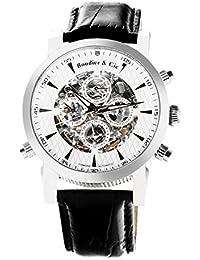 Automatik Armbanduhr von Boudier & Cie für Männer mit einem echten Diamanten mit Weißem Zifferblatt Analoger Anzeige und Schwarzem Armband aus Leder SK14H054