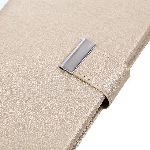 Cross Lines Texture Dreifach Typ PU Leder Brieftasche Case mit freistehenden TPU Back Cover Card Slots für iPhone X ( Color : Black ) Gold
