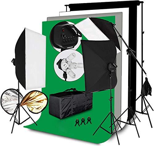 3375W Softbox-Beleuchtung Fotostudio-Kit 10x5.3Ft Dauerlichtlampe Ständer Regenschirm Reflektoren Hintergrundunterstützung 5500K Porträt-Videofotografie-Aufnahmebeleuchtungsset (Fotostudio-Kit)