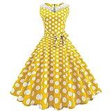 50er Vintage Kleider, Loveso ❤️ Damen Vintage Polka Dots A-Linie Ohne Arm Rockabilly Kleid Cocktailkleider Swing Kleider 1950er Retro Sommerkleid (Gelb(Mit Mesh)❤️, XL)