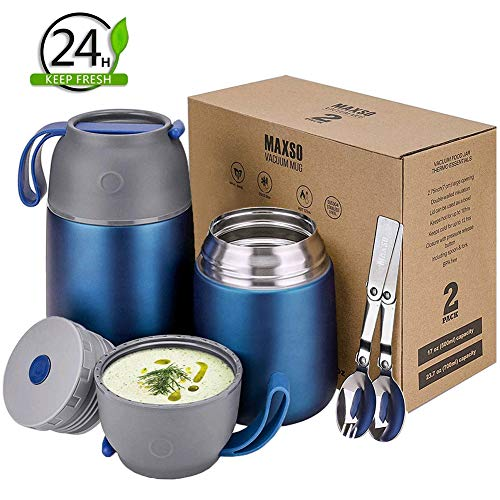 Xiapia termos per alimenti caldi, 2 pezzi di thermos alimenti, contenitore termico per alimenti 500 & 700ml,borracce per bambini,picnic