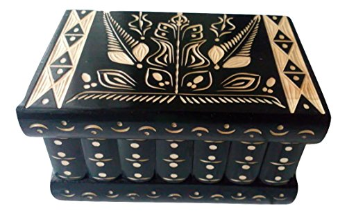 Big Holz Magic Mystery Puzzle Secret Tricky Schöne handgeschnitzte Holz Schmuck Aufbewahrungsbox Fall Besondere Holz Spielzeug (Schwarz) - Holz-puzzle Kreis