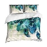 Sticker superb 2 Personen Luxus 3 Teilig 3D Tier Bettbezug Set, Eleganter Pfau Weiß Blau Grün Bettwäsche Set mit Reißverschluss für Mann Frau Mädchen (Pfau 4, 220_x_240_cm)