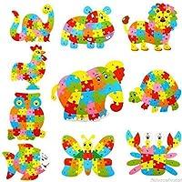 Tenlacum Elephant Wooden Puzzle Alphabet Letter Blocks Preschool Kids Learing Toy