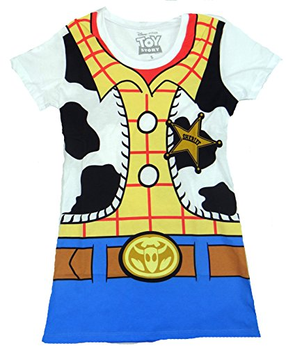 Toy Story Woody Costume Juniors T-shirt (Medium,White)