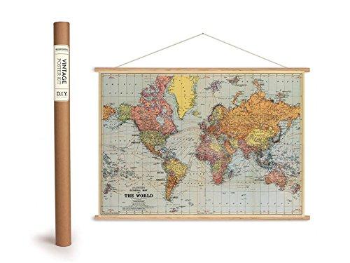 Holzlatten-rahmen (Vintage Poster Set mit Holzleisten (Rahmen) und Schnur zum Aufhängen, Motiv
