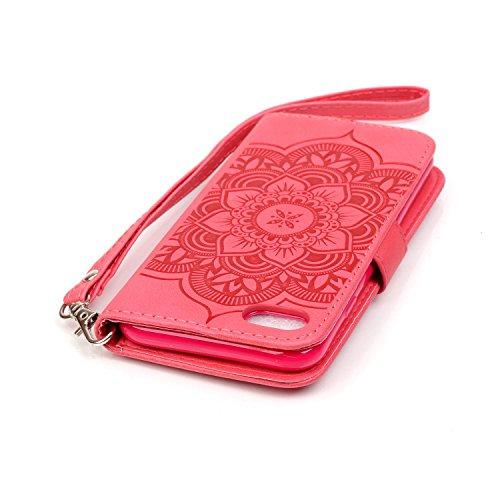 iPhone 7 Hülle Traumfänger, LuckyW Einfarbig Traumfänger Mandala Muster Pattern PU Leder Hülle für Apple iPhone 7 7S(4.7 zoll) TPU Soft Rückseite Abdeckung Ledertasche Brieftasche Flip Wallet Case Kun Rot
