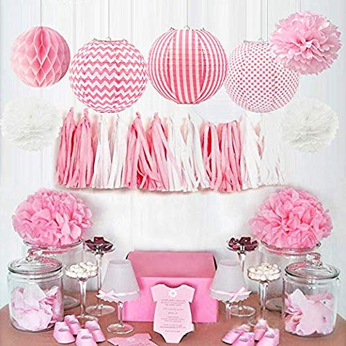 HappyField Baby Mädchen Baby Dusche Dekorationen Mädchen Geburtstag Party Dekorationen Tissue Pom Poms Papierlaternen Seidenpapier Quaste Tissue Honeycomb Balls Baby Pink Party Supplies