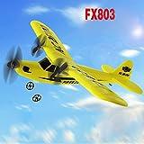 Lanspo HL803 Planeur Télécommandé Hélicoptère Avion Planeur Avion EPP Mousse 2CH 2.4G Jouets Intérieur et Extérieur Télécommande Infrarouge (Jaune)