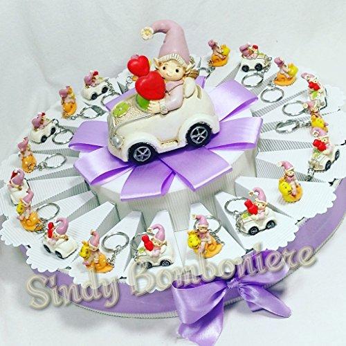 Torta bomboniera battesimo nascita 1° compleanno gnomo bambina portachiavi assortiti lumaca macchinina (torta da 20 fette + centrale)