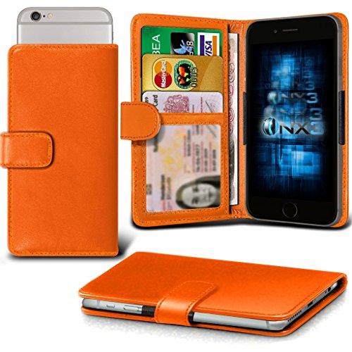 (Orange) Oppo R7 lite Hülle Abdeckung Cover Case schutzhülle Tasche Verstellbarer Feder Mappe Identifikation-Kartenhalter-Kasten-Abdeckung ONX3