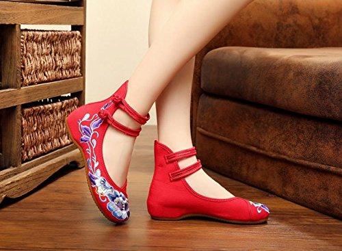 GXS Weiche Unterseite gestickte Schuhe, Sehnensohle, ethnischer Art, femaleshoes, Art und Weise, bequeme, beiläufige Segeltuchschuhe Red
