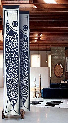 flber Japan Noren Tür Vorhang Indigo Dye handgefertigt Druck Tapisserie Tür Home Decor, 198,1x 19,8cm, Textil, blau, 78in X 7.8in (Noren Koi)