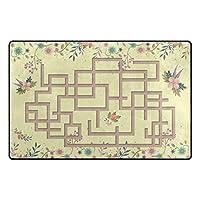 Orediy Soft Rugs Floral Maze Games Lightweight Area Rugs Kids Playing Floor Mat Non Slip Doormat Nursery Rug for Living Room Bedroom