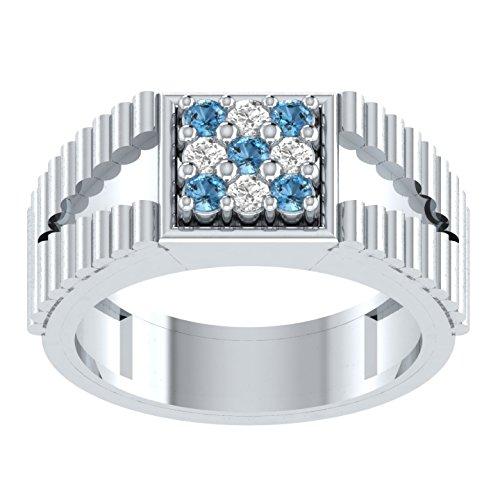 0,22Karat Brilliant Rund Schliff Aquamarin & Diamant Engagement & Hochzeit Ring in Sterling Silber (H)