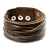 SilberDream Lederarmband braun Herren Leder Armband Echtleder LA2249B