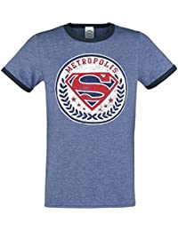 Superman Metropolis Ringer T-shirt Bleu chiné/bleu foncé