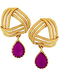 The Jewelbox Filigree Flower Gold Plated American Diamond Cz Purple Dangling Earring For Women Rakhi Raksha Bandhan...