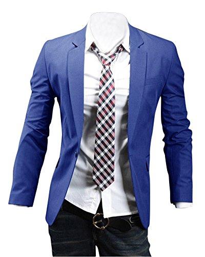 Uomo slim fit elegante vestito di affari una fibbia cappotto giacca blazers top outwear blu marino l