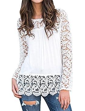 StyleDome Mujer Camiseta Otoño Encaje Mangas Larga Blusa Cuello Redondo Elegante Casual Bonita Tops