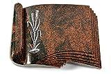 MEMORUM Grabmale Grabbuch, Grabplatte, Grabstein, Grabkissen, Urnengrabstein, Liegegrabstein Modell Prestige 40 x 30 x 8-9 cm Aruba-Granit, Poliert inkl. Gravur (Aluminium-Ornament Ähren 2)