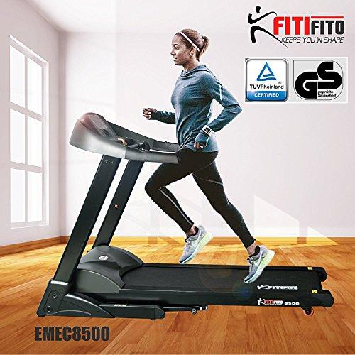 Angebot! Fitifito 8500 Profi Laufband 7PS 22km/h mit LED Bildschirm, Dämpfungssystem, 5 Trainingsmodulen inkl. HRC - Klappbar, Schwarz