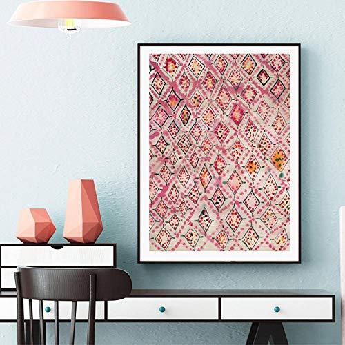 Leinwanddruck Vintager Rosa Teppichkunst Druckt Wanddekorationsplakat, Die Aquarell-Leinwand, Die Moderne Abstrakte Wandkunst Malt 50Cmx70Cm