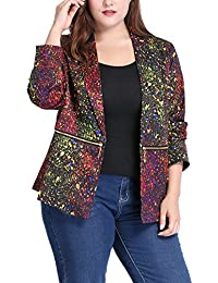 Sourcingmap Agnes Orinda Women's Plus Size Paint Splatter Print Notched Lapel Zipper Blazer