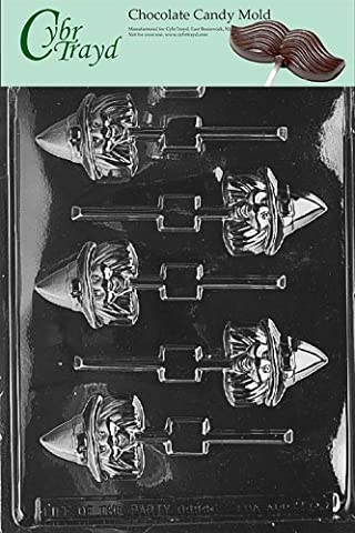 Cybrtrayd H068 Halloween Chocolate Candy Mold, Witch Head Lolly
