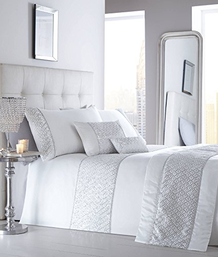 Luxus Pailletten mit King Bettwäsche Bettbezug Bettwäsche-Set-schimmernden Glanz Weiß NEU