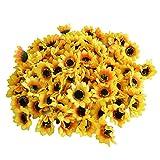 Eazeehome 100pcs Künstliche Gefälschte Seide Sonnenblumenköpfe Bouquet Floral Blumengarten Zuhause Dekor