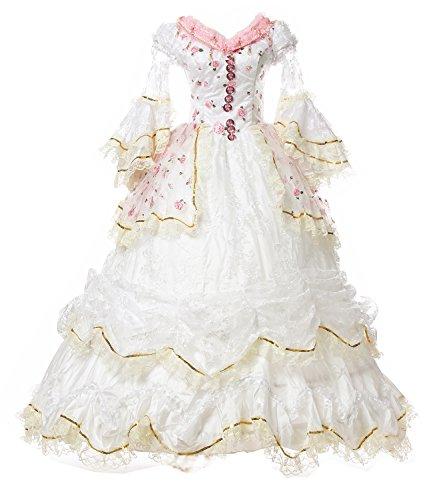 Damen Satin Gothic Viktorianisches Kleid Renaissance Maxi Kostüm (38, (Kleid Renaissance)