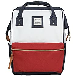 Mochila para portátil Estilo Mochila Escolar Retro de poliéster Apta para portátiles de 14 Pulgadas (Rojo+Azul)