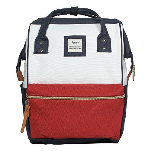 Himawari Polyester Laptop Tagesrucksack Vintage Schultasche für 14-Zoll Laptop (rot+blau)