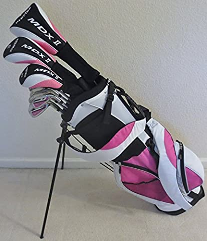 Womens Complete Golf Set Custom Made for Petite Ladies 5'0-5'5 Tall Taylor Fit Driver, Wood, Hybrid, Irons, Putter, Bag Graphite Lady Shafts Beautiful White with Pink Color Accents by Performance Golf 4 Women