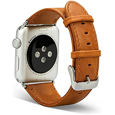 In vera pelle vintage per APPLE WATCH Band, Cinturino da Polso Band Di Ricambio Classica Fibbia con chiusura in metallo per Apple iWatch - 22 Pelle Mm Brown