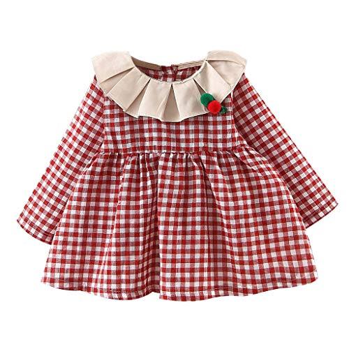 Outfit Roten Kostüm Jasmin - INLLADDY Kleider fur Babykleid Mädchen Festlich Langarm Long Lantern Sleeve Rüschen Mädchen Plaid Princess Dress Cloth Outfits Rot Höhe:80cm