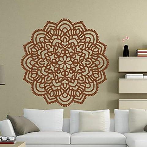 Oyedens Indische Mandala Blume Schlafzimmer Wand Kunst Aufkleber Aufkleber (Braun)