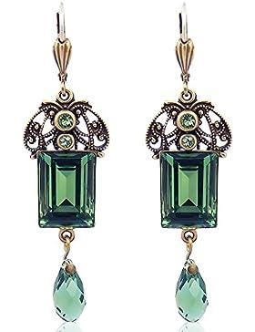 Jugendstil Ohrringe mit Kristallen von Swarovski® Grün Gold Emerald - NOBEL SCHMUCK